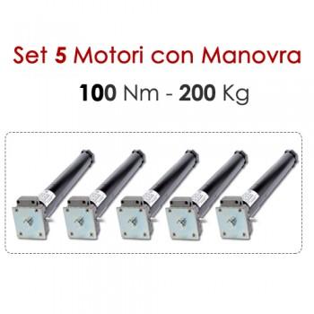 Set 5 Motori tapparelle con Manovra - 100 Nm | 200 Kg