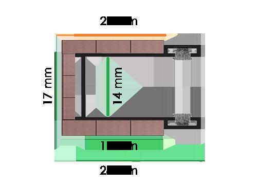 Guide di scorrimento modello GE dimensione 28x17x28 mm