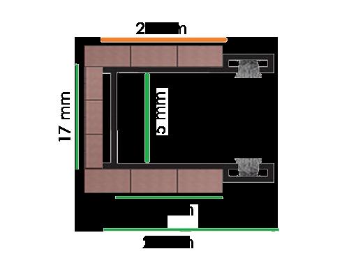Guide di scorrimento per tapparelle modello PG dimensione 28x17x28 mm